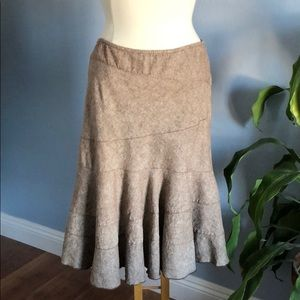 DKNY Chocolate Brown Chambray Fit & Flare Skirt